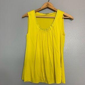 ELIE TAHARI | yellow silk ruched neck tank XS